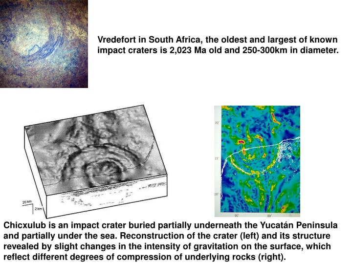 Vredefort in South Africa, the oldest and largest of known impact craters is 2,023 Ma old and 250-300km in diameter.