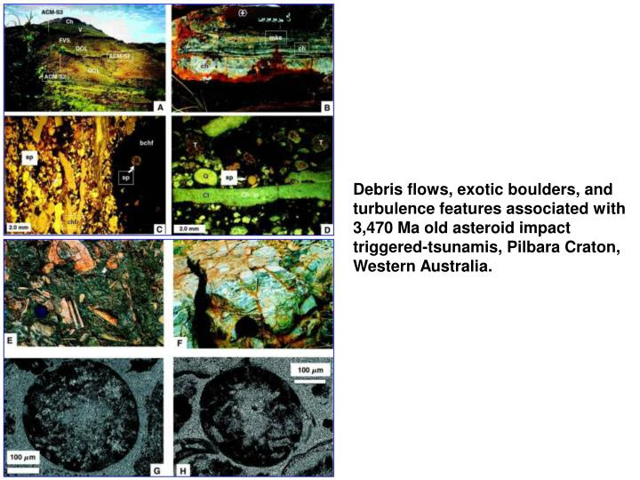 Debris flows, exotic boulders, and turbulence features associated with 3,470 Ma old asteroid impact triggered-tsunamis, Pilbara Craton, Western Australia.
