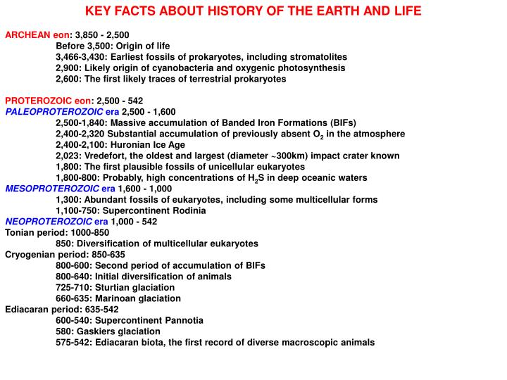 KEY FACTS ABOUT HISTORY OF THE EARTH AND LIFE
