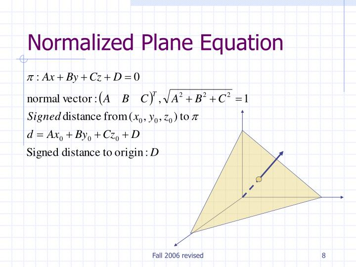 Normalized Plane Equation