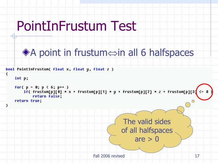 PointInFrustum Test