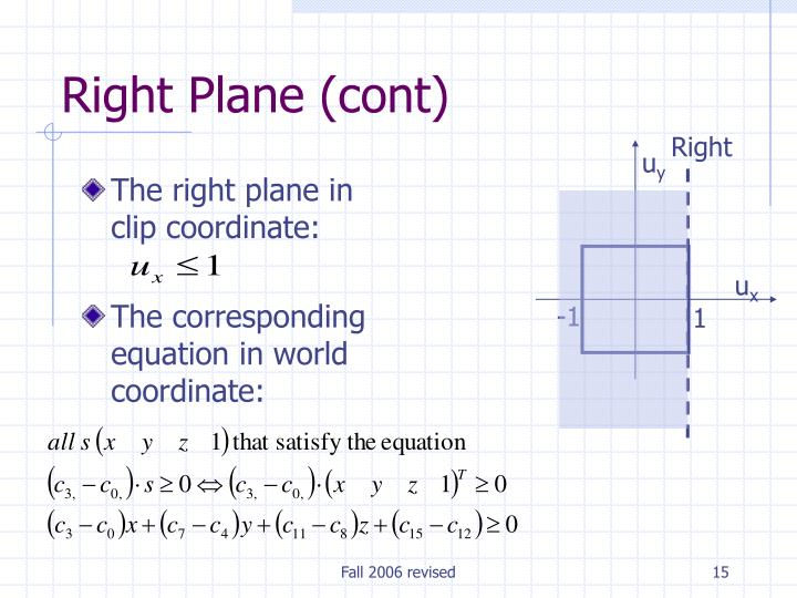 The right plane in clip coordinate: