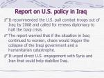 report on u s policy in iraq