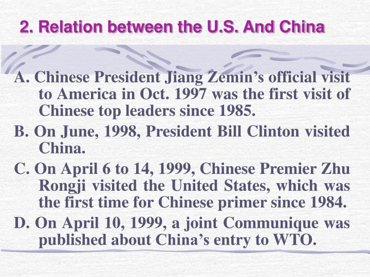 2. Relation between the U.S. And China