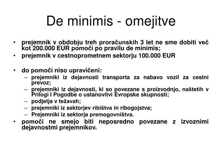 De minimis - omejitve