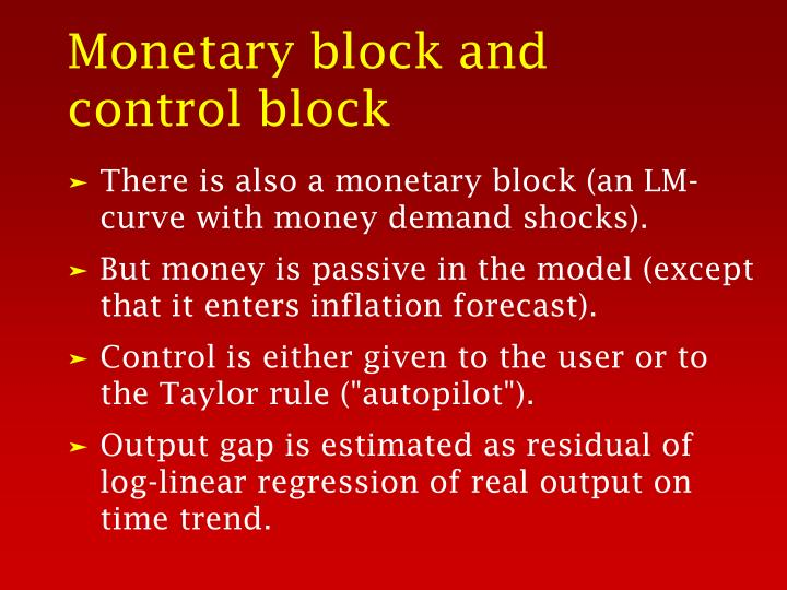 Monetary block and control block