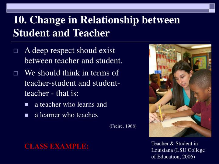 10. Change in Relationship between Student and Teacher