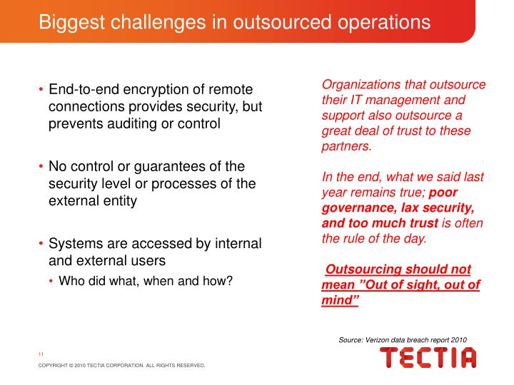 Biggest challenges in outsourced operations