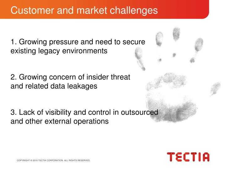 Customer and market challenges