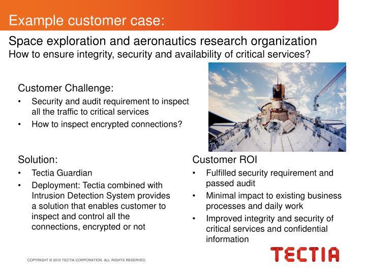 Example customer case: