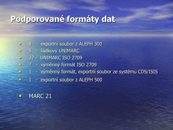 Podporované formáty dat