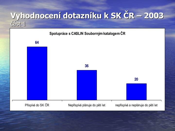 Vyhodnocení dotazníku k SK ČR – 2003