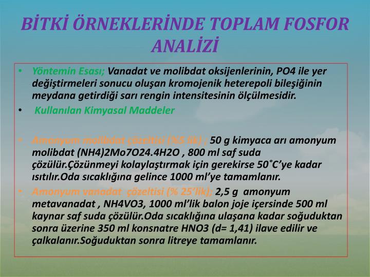 BİTKİ ÖRNEKLERİNDE TOPLAM FOSFOR ANALİZİ