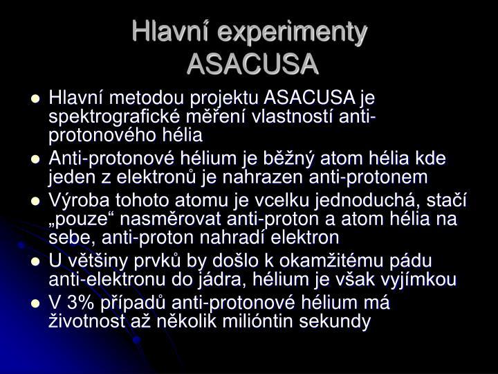 Hlavní experimenty