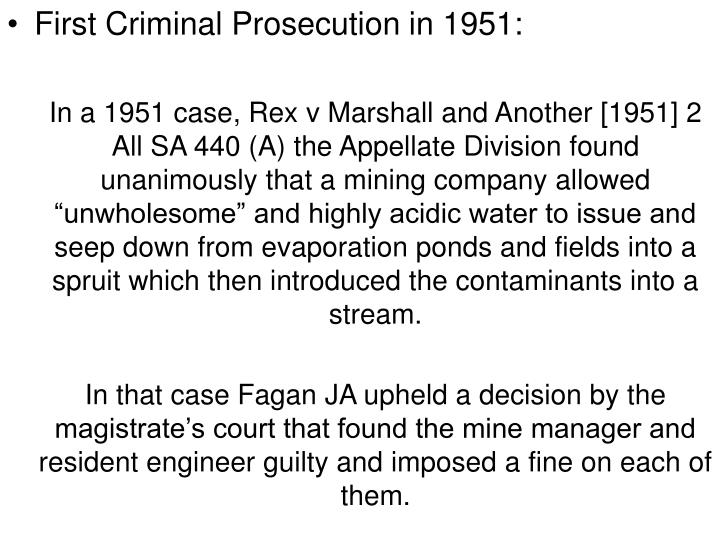 First Criminal Prosecution in 1951: