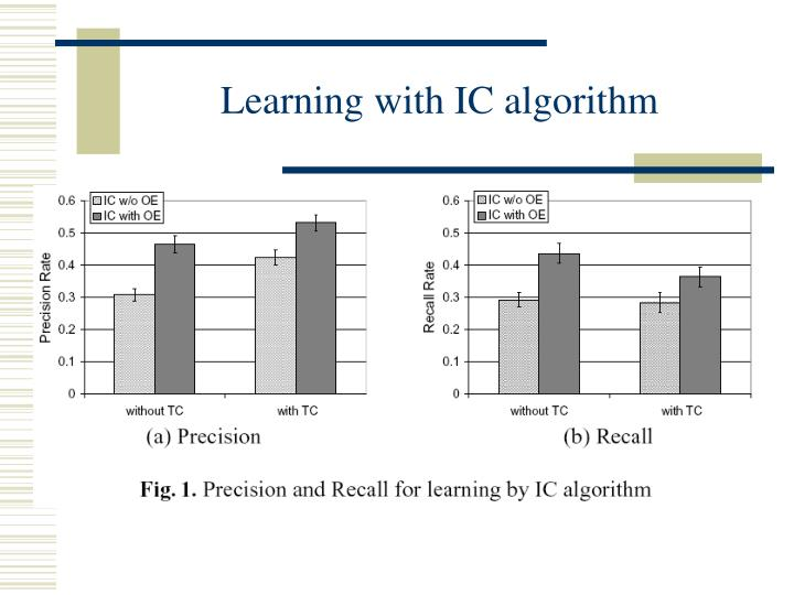 Learning with IC algorithm