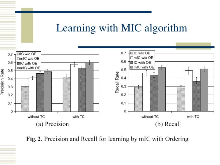 Learning with MIC algorithm