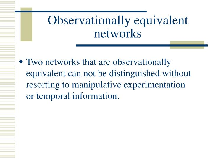 Observationally equivalent networks
