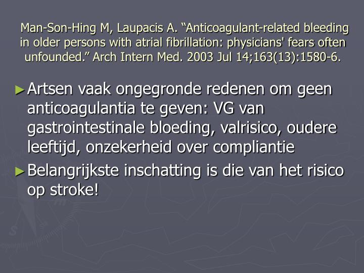 "Man-Son-Hing M, Laupacis A. ""Anticoagulant-related bleeding in older persons with atrial fibrillation: physicians' fears often unfounded."" Arch Intern Med. 2003 Jul 14;163(13):1580-6."