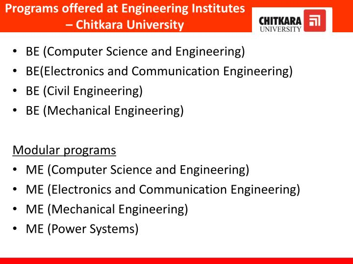 Programs offered at Engineering Institutes – Chitkara University