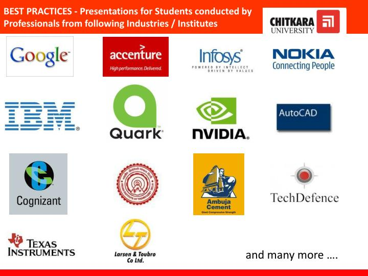 BEST PRACTICES - Presentations for Students conducted by Professionals from following Industries / Institutes