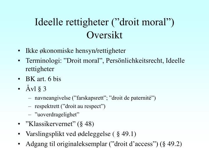 "Ideelle rettigheter (""droit moral"")"