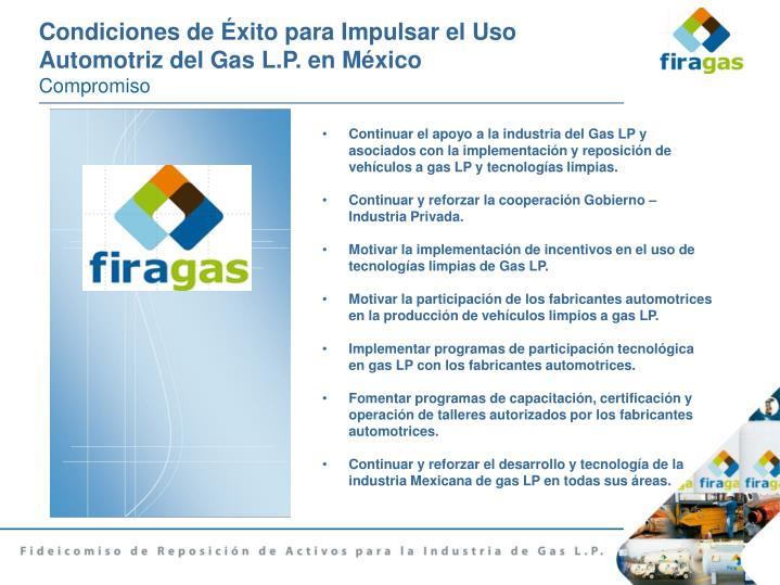 Condiciones de Éxito para Impulsar el Uso Automotriz del Gas