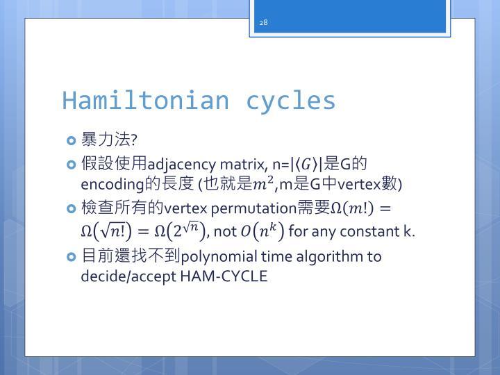 Hamiltonian cycles