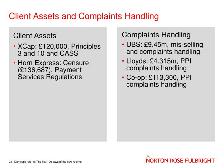 Client Assets and Complaints Handling
