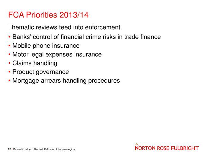FCA Priorities 2013/14