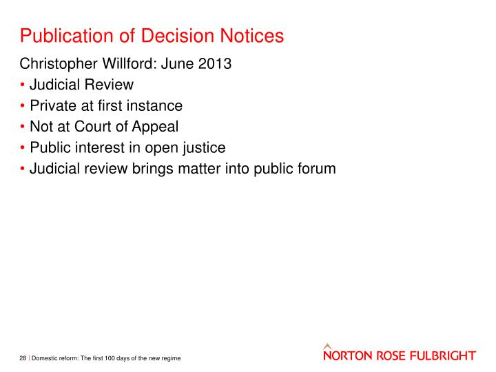 Publication of Decision Notices