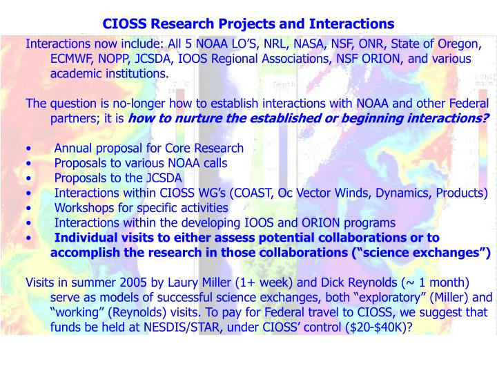 CIOSS Research Projects and Interactions