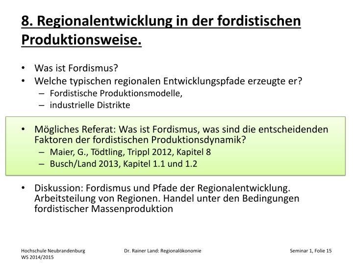 8. Regionalentwicklung