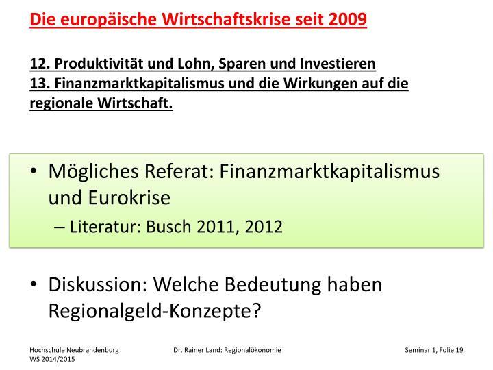 Die europäische Wirtschaftskrise seit 2009