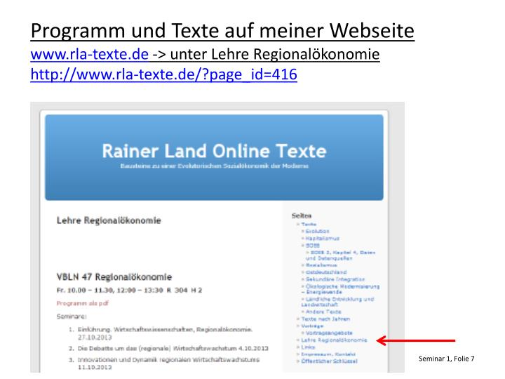 Programm und Texte auf meiner Webseite