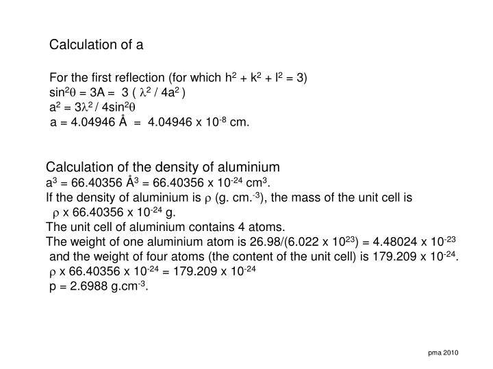 Calculation of a