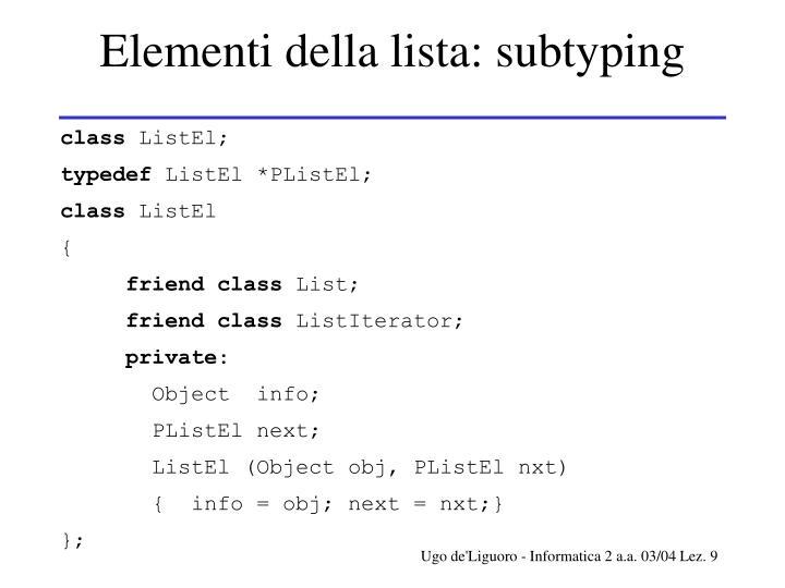 Elementi della lista: subtyping