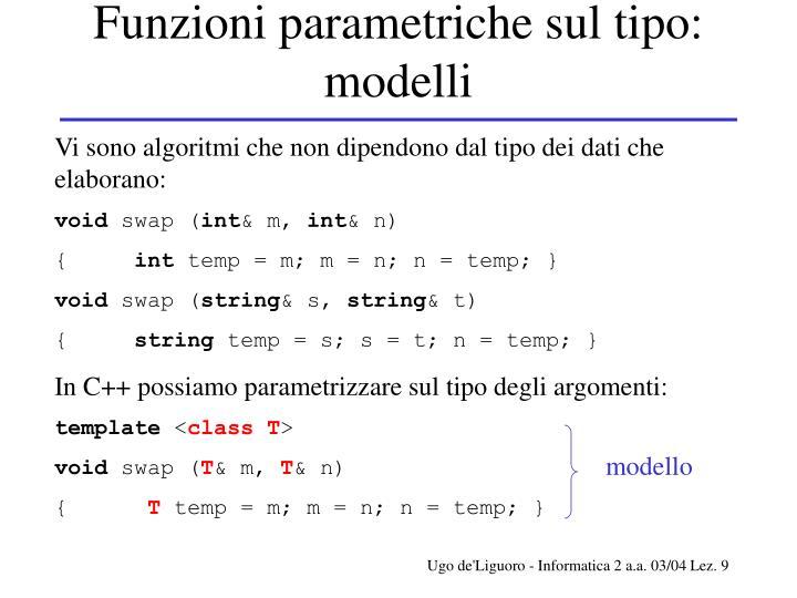 Funzioni parametriche sul tipo: modelli