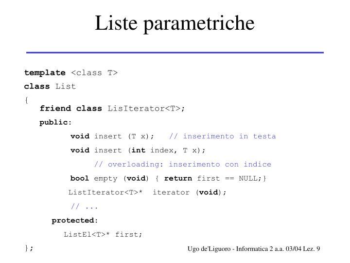 Liste parametriche