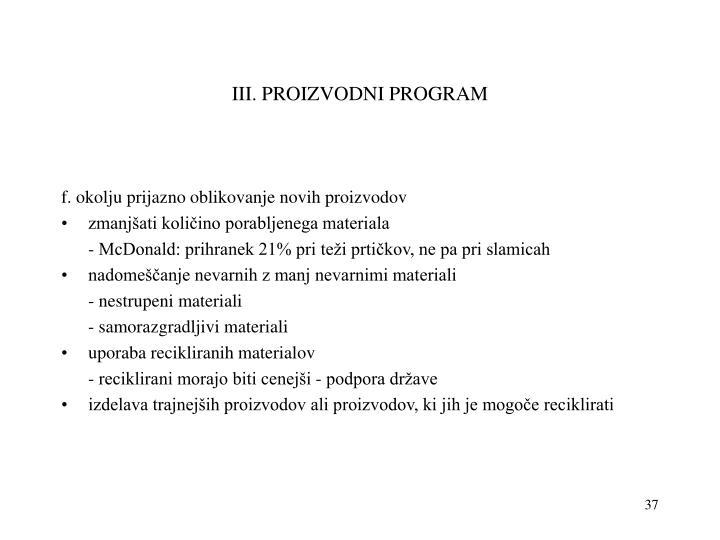 III. PROIZVODNI PROGRAM