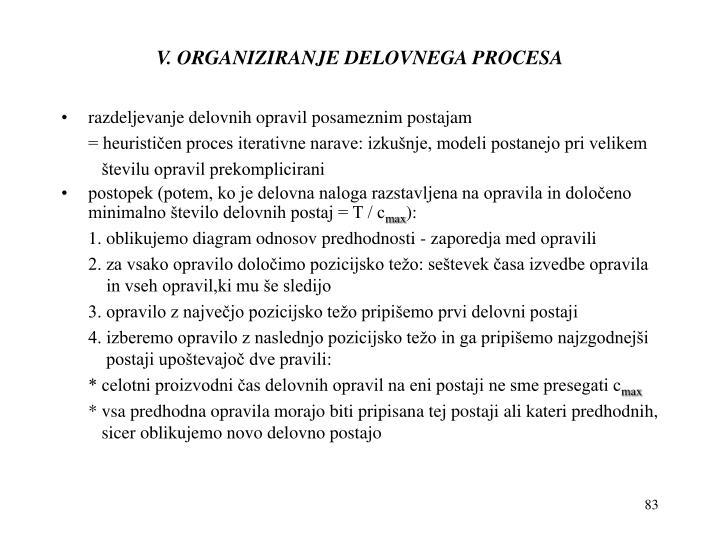 V. ORGANIZIRANJE DELOVNEGA PROCESA