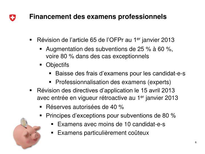Financement des examens professionnels