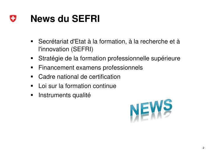 News du SEFRI