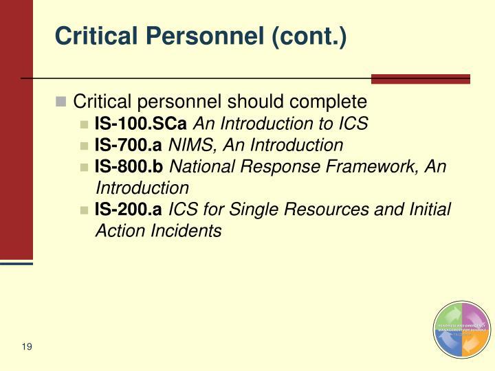 Critical Personnel (cont.)