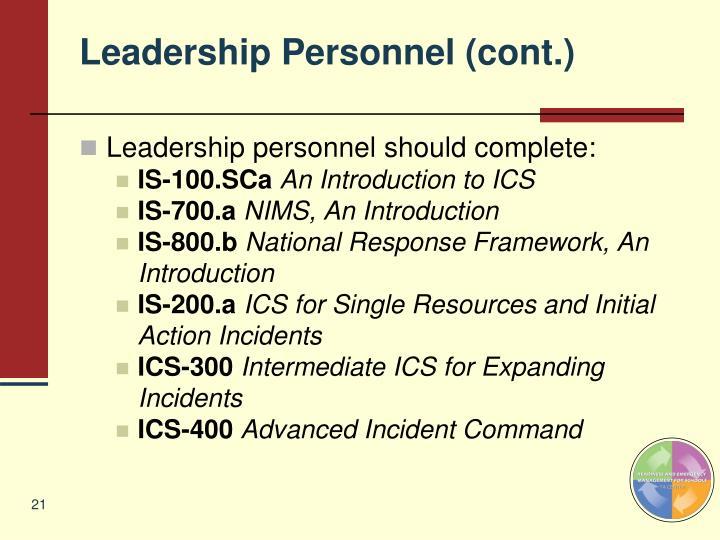 Leadership Personnel (cont.)