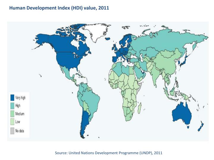 Human Development Index (HDI) value, 2011