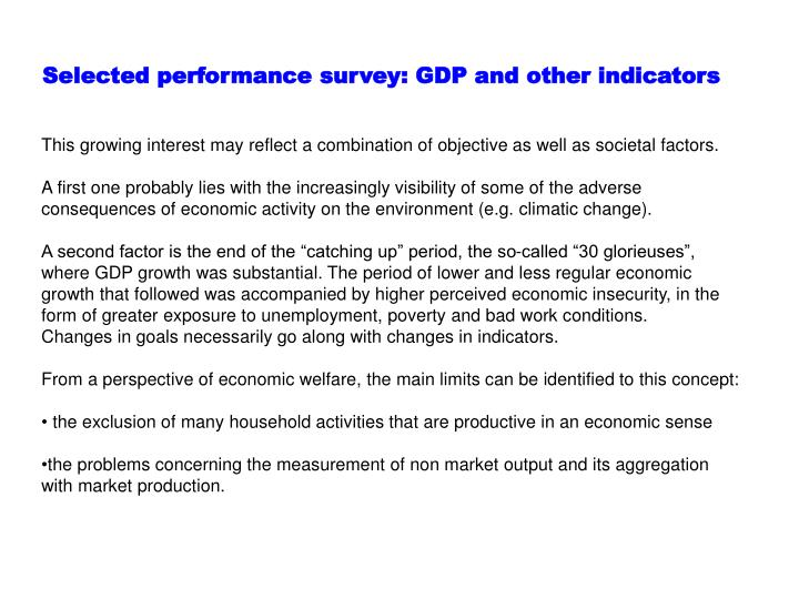 Selected performance survey: