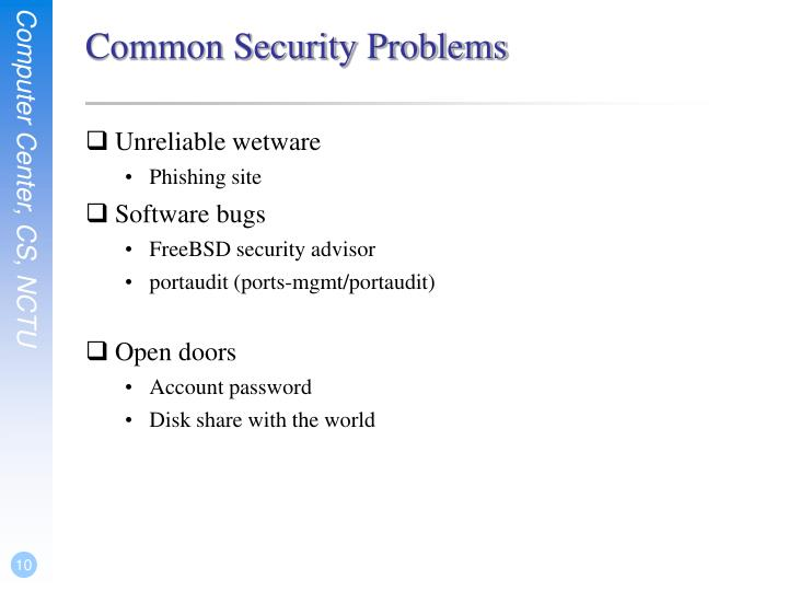Common Security Problems