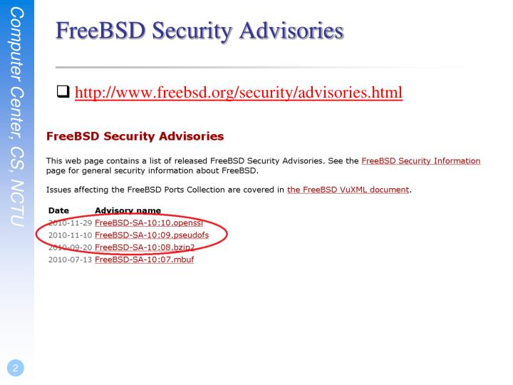 FreeBSD Security Advisories