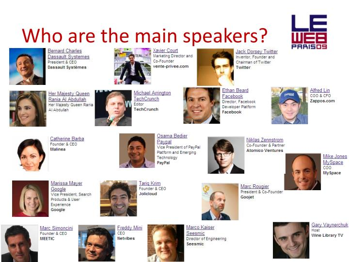 Who are the main speakers